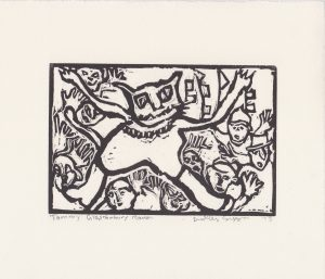 a dudley sutton lino cut at the opening of we recorded young josh trying to sell his art